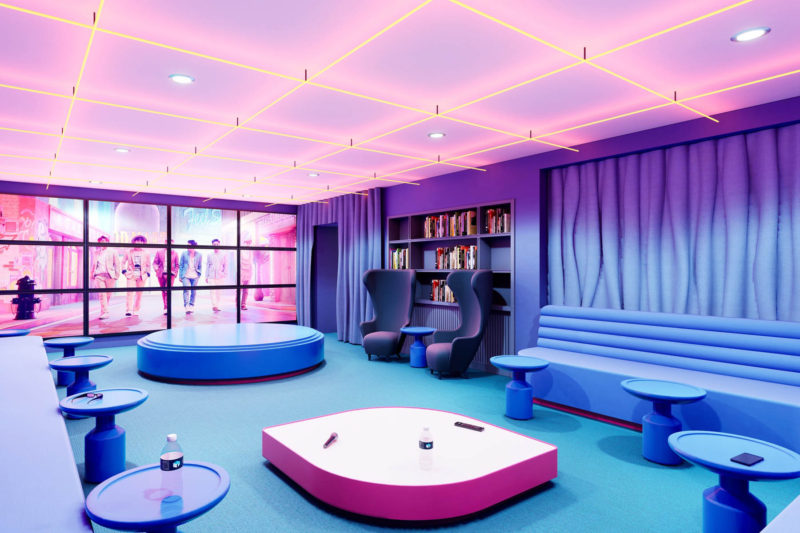 vibrant karaoke room at broadstone archive apartments